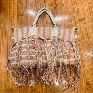 AMERICA & BEYOND Jute Striped Boho Tote